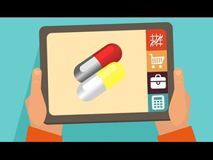 Ipad/tablet computer with image of pills on